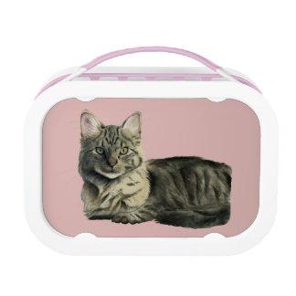 Domestic Medium Hair Cat Watercolor Painting Lunch Box