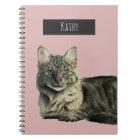 Domestic Medium Hair Cat Watercolor Painting Notebook