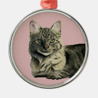 Domestic Medium Hair Cat Watercolor Painting Silver-Colored Round Decoration