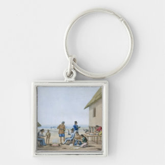 Domestic occupations, Agagna, Guam, Philippines, f Silver-Colored Square Key Ring