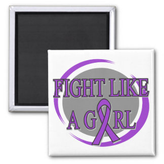 Domestic Violence Fight Like A Girl Circular Square Magnet