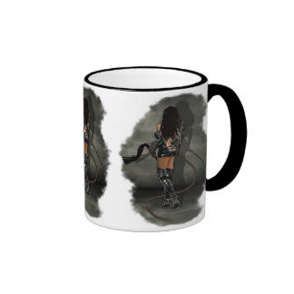 Dominatrix with Whips (Gray) Ringer Mug