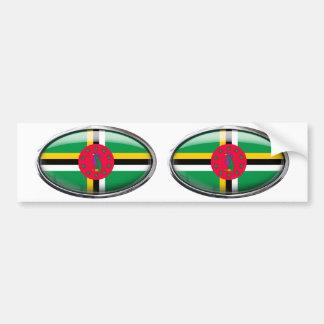 Dominica Flag Glass Oval Bumper Sticker