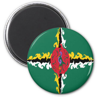 Dominica Gnarly Flag 6 Cm Round Magnet