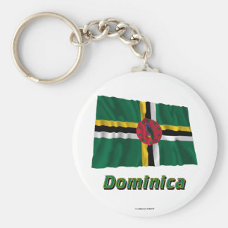 Dominica Waving Flag with Name Basic Round Button Key Ring