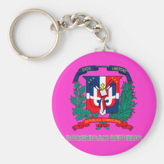 Dominican Emblem Basic Round Button Key Ring