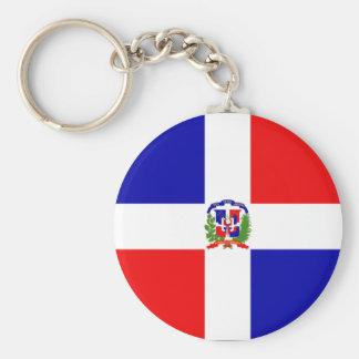 Dominican Flag Basic Round Button Key Ring