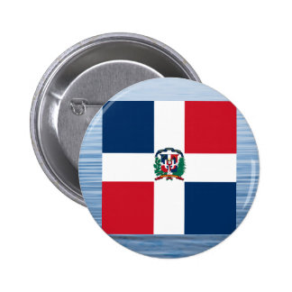 Dominican Flag Floating on water 6 Cm Round Badge