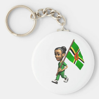 Dominican Girl Basic Round Button Key Ring