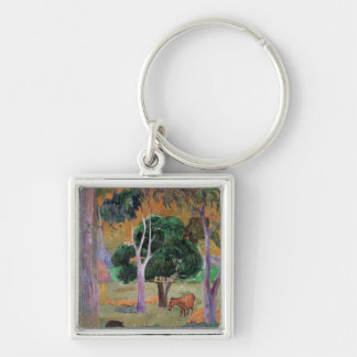 Dominican Landscape or Landscape with a Pig Silver-Colored Square Key Ring