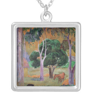 Dominican Landscape or Landscape with a Pig Silver Plated Necklace