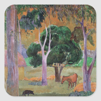 Dominican Landscape or Landscape with a Pig Square Sticker
