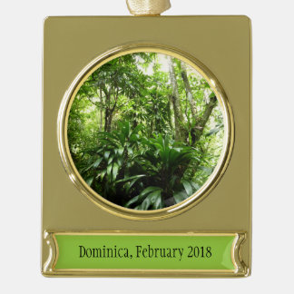 Dominican Rain Forest I Tropical Green Nature Gold Plated Banner Ornament