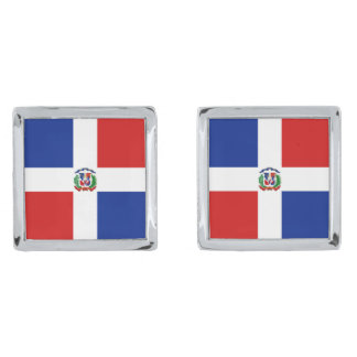 Dominican Rep. Flag Cufflinks Silver Finish Cufflinks