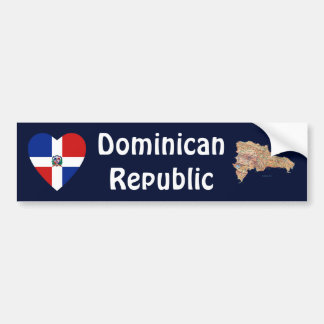 Dominican Rep. Flag Heart + Map Bumper Sticker