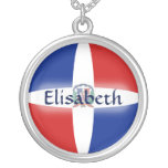 Dominican Rep. Flag + Name Necklace