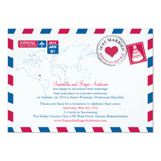 Dominican Republic Air Mail Post Wedding Reception Card
