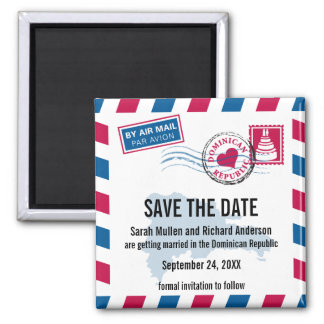 Dominican Republic Air Mail Wedding Save the Date Square Magnet