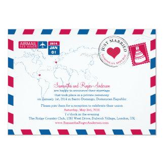 Dominican Republic Airmail Post Wedding 13 Cm X 18 Cm Invitation Card