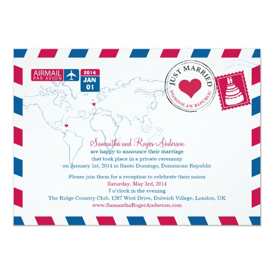 Dominican Republic Airmail Post Wedding Card