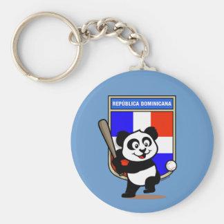 Dominican Republic Baseball Panda Basic Round Button Key Ring