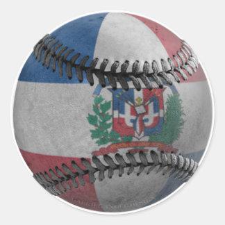 Dominican Republic Baseball Round Sticker