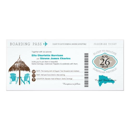 Dominican Republic Boarding Pass Wedding Card