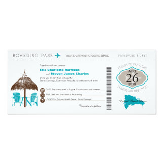 Dominican Republic Boarding Pass Wedding Card