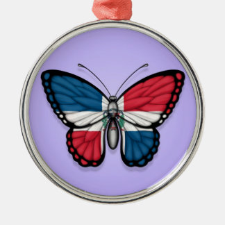 Dominican Republic Butterfly Flag on Purple Silver-Colored Round Decoration