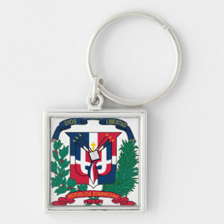 Dominican Republic Coat of arms  DO Silver-Colored Square Key Ring