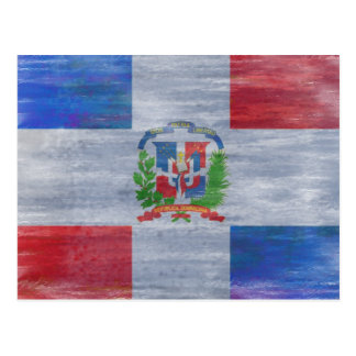 Dominican Republic distressed flag Postcard