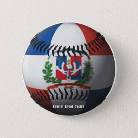 Dominican Republic Flag Covered Baseball 6 Cm Round Badge