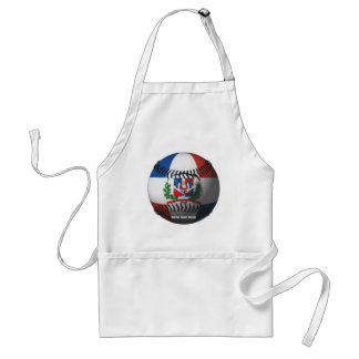Dominican Republic Flag Covered Baseball Adult Apron
