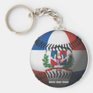 Dominican Republic Flag Covered Baseball Basic Round Button Key Ring