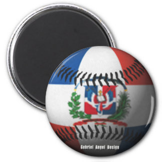 Dominican Republic Flag Covered Baseball Magnet