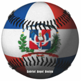Dominican Republic Flag Covered Baseball Photo Cut Out