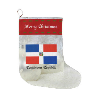 Dominican Republic flag, custom design Large Christmas Stocking