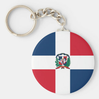 Dominican Republic Flag DO Basic Round Button Key Ring
