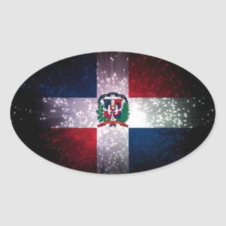 Dominican Republic Flag Firework Oval Sticker