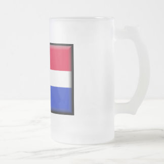 Dominican Republic Flag Frosted Glass Beer Mug