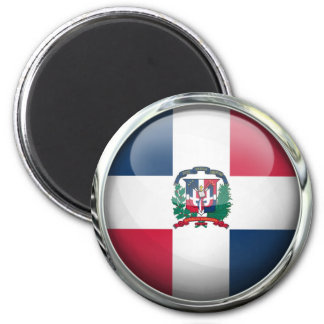 Dominican Republic Flag Glass Ball 6 Cm Round Magnet