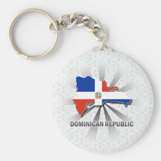 Dominican Republic Flag Map 2.0 Basic Round Button Key Ring