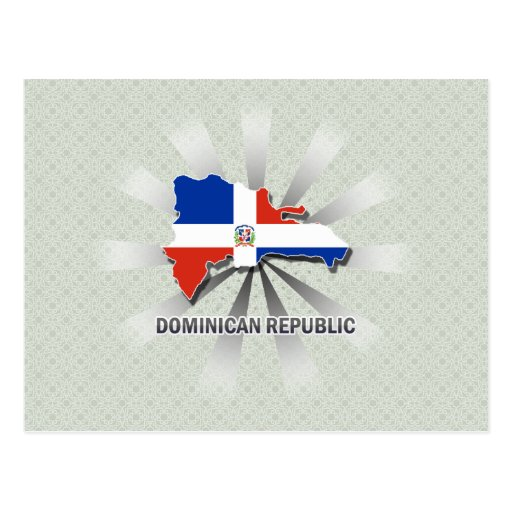 Dominican Republic Flag Map 2.0 Postcards