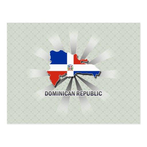 Dominican Republic Flag Map 2.0 Postcards
