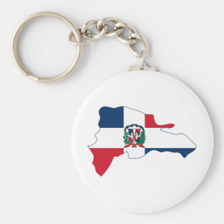 Dominican Republic Flag Map DO Basic Round Button Key Ring