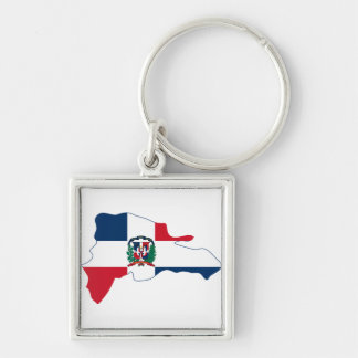 Dominican Republic Flag Map DO Silver-Colored Square Key Ring