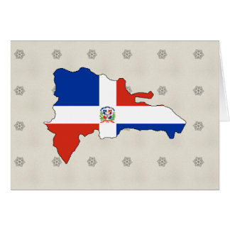 Dominican Republic Flag Map full size Greeting Cards