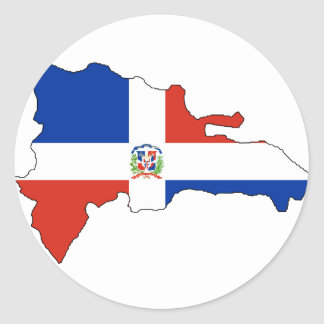 Dominican Republic flag map Round Sticker