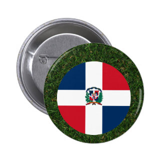 Dominican Republic Flag on Grass 6 Cm Round Badge