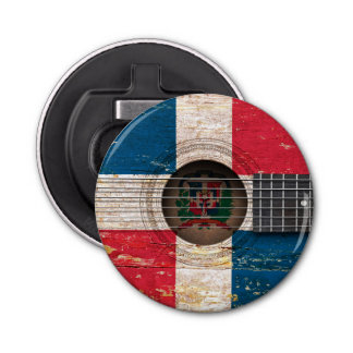 Dominican Republic Flag on Old Acoustic Guitar Bottle Opener